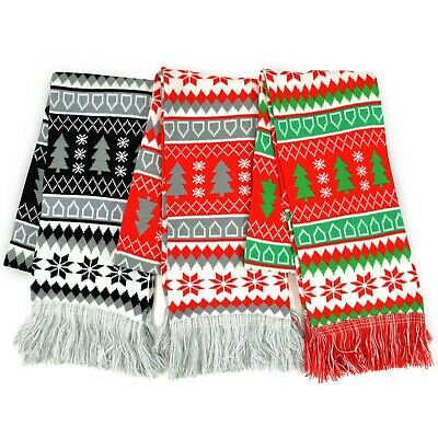 TeeHee Christmas Holiday Winter Unisex Double Layer Knitted Scarves 3-Pack