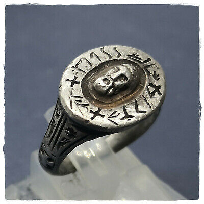 ** Jesus Christ ** ancient SILVER  BYZANTINE or MEDIEVAL RING ! 8,23g