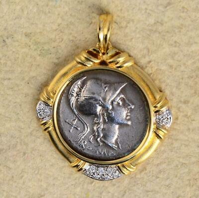 Ancient Roman Republic Silver Denarius coin in Solid 18kt Gold Pendant 115 B.C.
