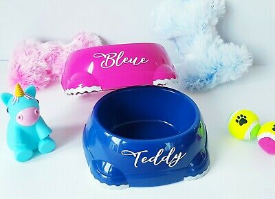 Personalised dog cat pet bowl water food blue pink puppy kitten