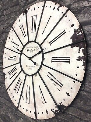 Extra Large Shabby Chic Roman Numeral Wall Clock 60cm Antique Vintage Style