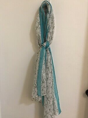 Powder Hare-bird Design Scarf With Gift Bag and Scarf Ring Bnwt