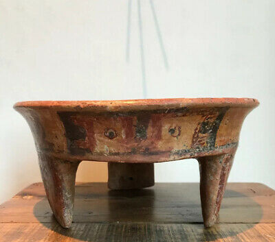 Authentic Mayan Tripod Bowl. Pre Columbian Pottery