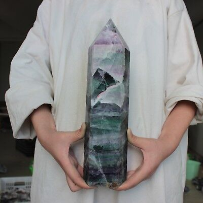 "9.8LB 12.9"" Natural Rainbow Fluorite Quartz Crystal Point Tower Polished Healing"