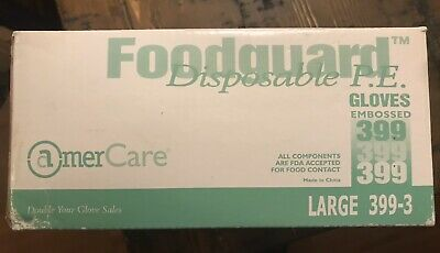 Amer Care Good Guard Disposable P.E. Gloves Large 399-3 10/100 1,000 Gloves