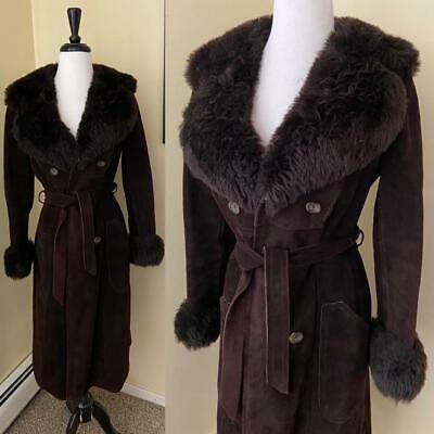 Vintage 1970's Brown Suede Coat Faux Fur Shearling Collar + Cuffs S Hippy Boho
