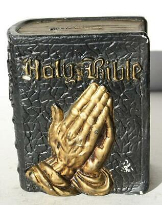 Holy Bible Praying Hands Figurine Coin Bank Composite Made in Japan Vintage-NEAT