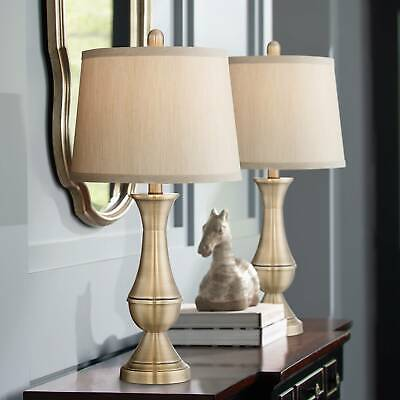 Antique Brass Metal Table Lamp Set of 2, Metal Base and Drum Shade Pair