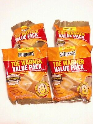 Lot of 4 HotHands Toe Warmer Value Pack-28 Pair Of Toe Warmers *Odor Absorbing*