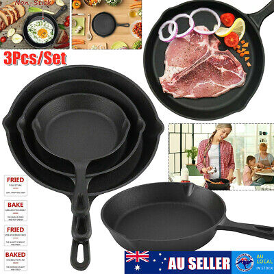 AU 3Pcs CAST IRON Non-Stick Frying Griddle Pan Barbecue Grill Fry BBQ Skillet ❤