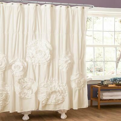 Gorgeous Fabric Rosette Shower Curtain Elegant White Ruched Clean Anthropologie