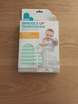 NEW Love to Dream Swaddle Up 1 Tog Transition Bag 50/50 White/Mint Stripe MEDIUM