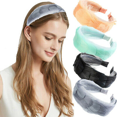 Women's Feather Hairband Headband Wide Hair Band Hoop Accessories Costume Party