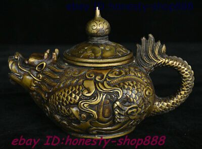 China Dynasty Bronze Dragon Loong Animal Beast Wine Tea Pot Flagon Teapot Stoup