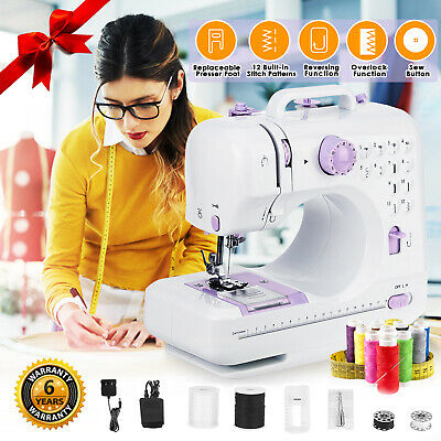 12 Stitches Electric Sewing Machine Household Overlock 2 Speed Foot Pedal LED