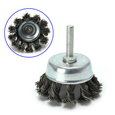 """2'' Metal Wire Wheel Cup Brush Crimped With 1/4"""" Shank For Die Grinder Drills"""