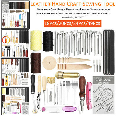 Leather Craft Hand Tools Kit Stitching Sewing Stamping Punch Carve Work New