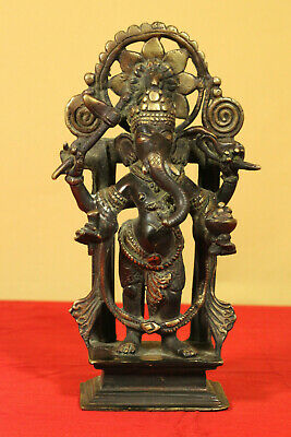 Antique OLD 18 century Gilt Bronze Ganesha Tibetan Figure Statue 9in. (22.5cm)