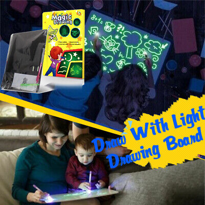 Light Up Drawing Fluorescent Magic Writing Board Kit Kids Fun Developing Toy A4
