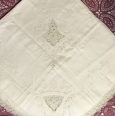 """1940's White Floral LINEN SET 52"""" Tablecloth Luncheon Dinner Cocktail Napkins"""