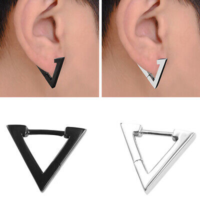 Men's Stainless Steel Ear Stud Hoop Punk 925 Sterling Silver Earrings Jewelry UK