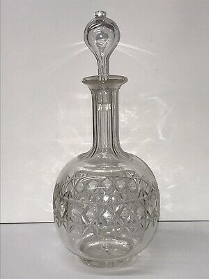 Victorian Arts And Crafts Globe And Shaft Glass Decanter