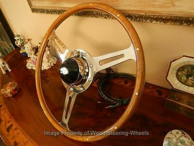 "Jaguar XK120  Wood Steering Wheel DERRINGTON 17"" ORIGINAL Vintage 1950's NOS NEW"