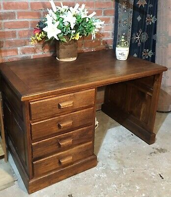 Antique Industrial Glasgow Post Office Single Pedestal Oak Desk- Can Deliver