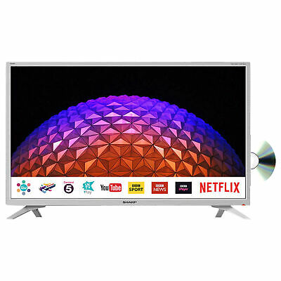 "Sharp 32"" Inch White Smart TV HD with Freeview Play, DVD Player, Wi-Fi"