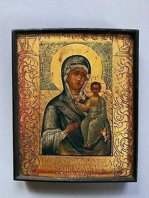 Antique greek icon 19th C wood hand painted icone virgin Jesus russian
