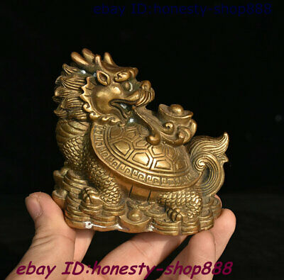 China Bronze Fengshui Animal Dragon Tortoise Loong Turtle God Beast Coins Statue