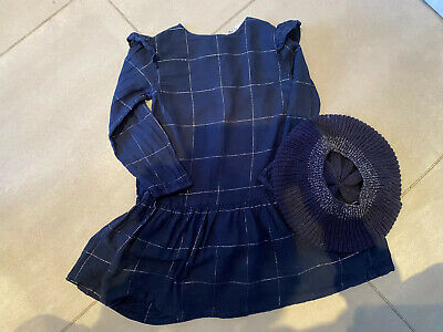 Little White Company Girls Navy Dress And Matching Hat Age 3-4