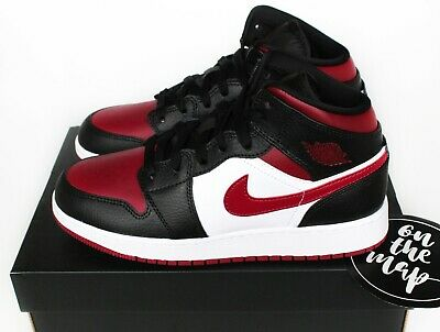Nike Air Jordan 1 Retro Mid Bred Toe Black Noble Red White UK 3 4 5 6 7 8 9 10