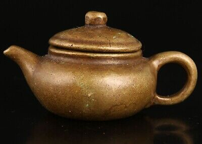 Antique China Bronze Teapot Model Handicraft Collection Gift Old