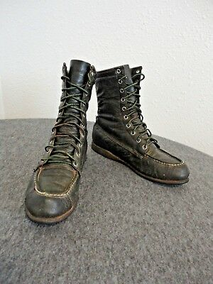 Vintage Browning Arms Co Green Leather Work/Hunting Sportsman Moc-Toe 7.5A Boots