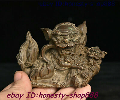 Old Chinese Copper Bronze Feng shui Foo Fu Dog Guardion Lion Animal Beast Statue