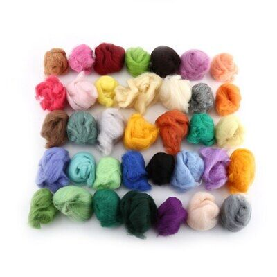 36 Colors Wool Fiber Dyed Roving For Needle Felting Hand Spinning Set