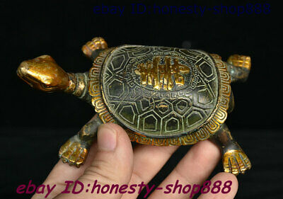 Collect China Dynasty Bronze Gilt Fengshui Wealth Animal Tortoise Turtle Statue
