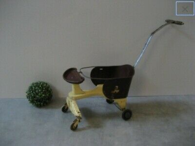 Antique Doll Teddy Bear Buggy Stroller TOY ONLY NOT INTENDED FOR HUMAN BABIES