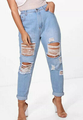 Boohoo Ladies Blue Ripped 7/8 Jeans Plus Size 22 New Womens