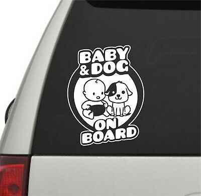 Baby and Dog on Board Car Window Sticker Bumper Vinyl Decal