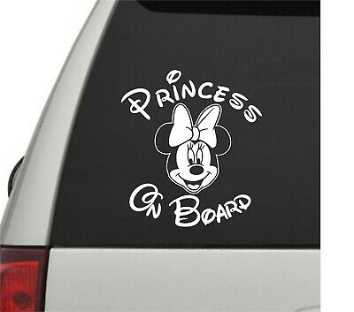 Princess on Board Car Window Sticker Vinyl Decal Minnie Mouse