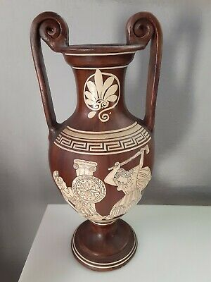 Vintage BC Reproduction Replica Vase amphora Greek Pottery Warriors 13 1/2 in