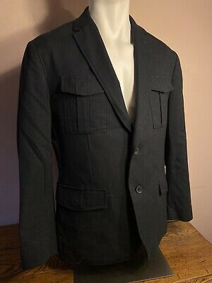 Banana Republic Tailored Fit Navy Blue Mens Blazer Pinstriped Suit Jacket 42S