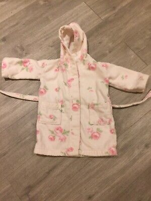 The Little White Company Girls Floral Towelling Robe Age 2-3 Good Condition
