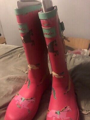 Joules Girls Wellies Pink Horses Size 3 BNWT