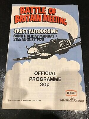 Croft Race Programme 28th August 1978 Motorcycles Formula Ford FF1600 Libre