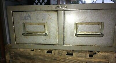 Vintage, Industrial Cole Steel Metal Library Two Drawer File Index Card Cabinet
