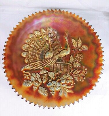 Vintage Northwood Peacock On Fence Purple Carnival Glass Saw Tooth Plate Bowl