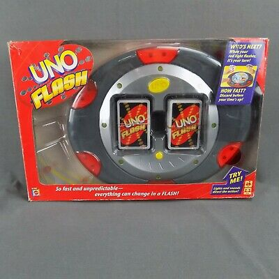Uno Flash Electronic Mattel 2007 Sounds Lights Card Game Complete Tested